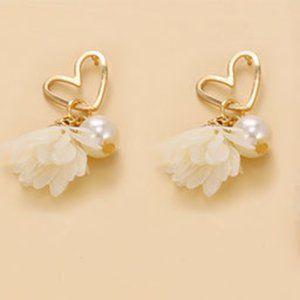 3/$20 Gold & Pearl Heart Tassel Earrings